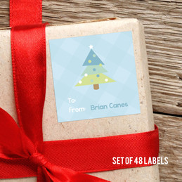 Modern Blue Xmas Tree Gift Label