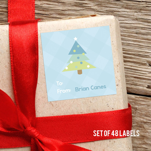 Modern Blue Xmas Tree Gift Label