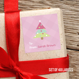 Modern Pink Xmas Tree Gift Label