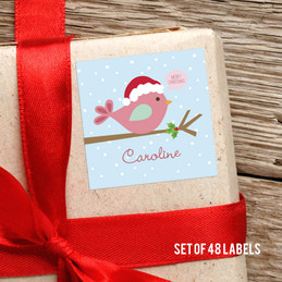 Cute Xmas Birdie Gift Label