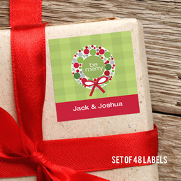 Merry Wreath Gift Label