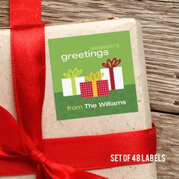 Three Xmas Boxes Gift Label