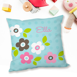 Blue Preppy Flowers Pillows