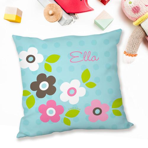 Blue Preppy Flowers Pillows