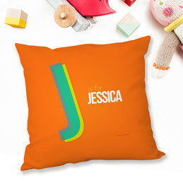 Double Initial - Orange Pillows