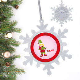 Cute Elf Girl Blonde Personalized Christmas Ornaments