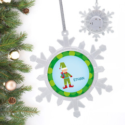 Cute Elf Boy Blonde Personalized Christmas Ornaments