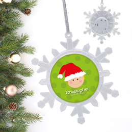 Santa's Hat Blonde Boy Personalized Christmas Ornaments