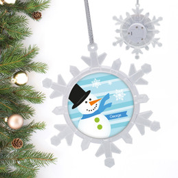 Blue Mr.Snowman Personalized Christmas Ornaments