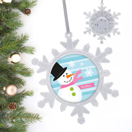 Pink Mr.Snowman Personalized Christmas Ornaments