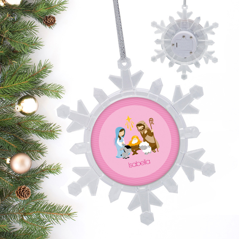 Nativity On Pink Ornament