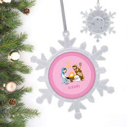 Nativity Set On Pink Personalized Christmas Ornaments