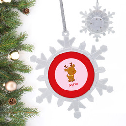Sweet Baby Pink Deer Personalized Christmas Ornaments