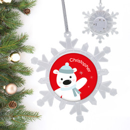 Cute Polar Bear Personalized Christmas Ornaments