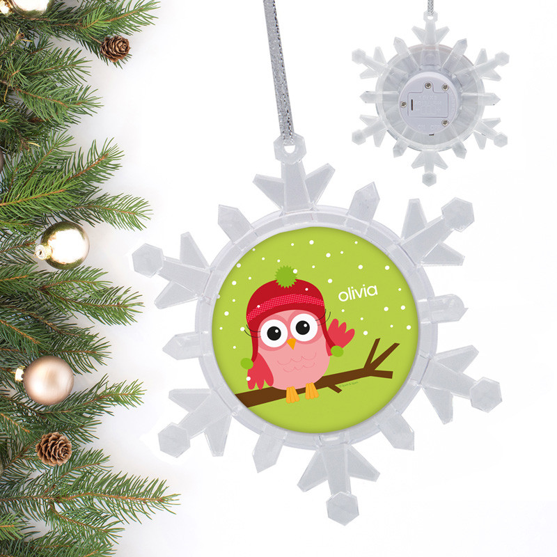 xmas baby pink owl personalized christmas ornaments