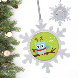 Xmas Baby Blue Owl Personalized Christmas Ornaments