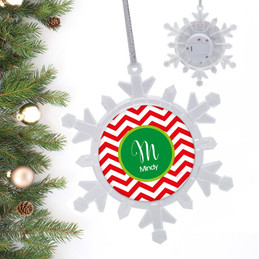 Red Xmas Chevron Personalized Christmas Ornaments