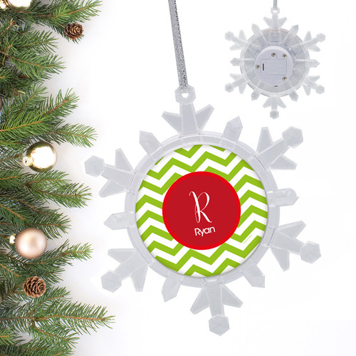 Green Xmas Chevron Personalized Christmas Ornaments