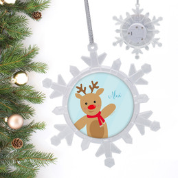 Sweet Reindeer On Blue Personalized Christmas Ornaments