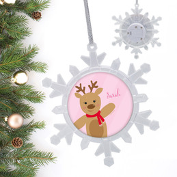 Sweet Reindeer On Pink Personalized Christmas Ornaments
