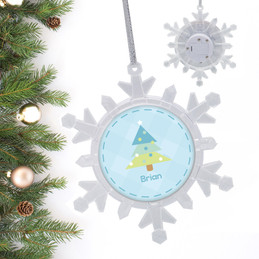 Modern Blue Xmas Tree Personalized Christmas Ornaments