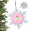 Modern Pink Xmas Tree Personalized Christmas Ornaments