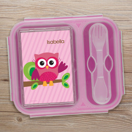 Owl Be Yours Pink Collapsible Lunch Box