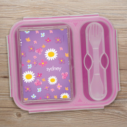 Purple Field Of Flowers Collapsible Lunch Box