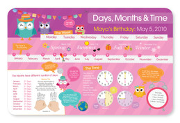 Birthday and Time Placemat - Pink