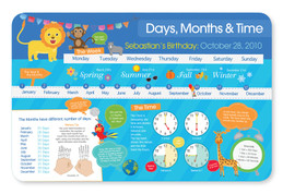 Birthday and Time Placemat - Blue