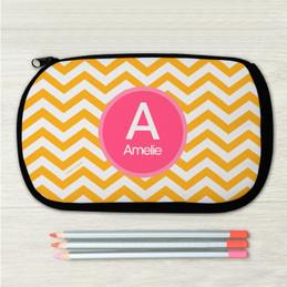 Mustard & Pink Chevron Pencil Case