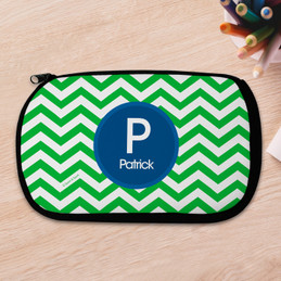 Green And Blue Chevron Pencil Case