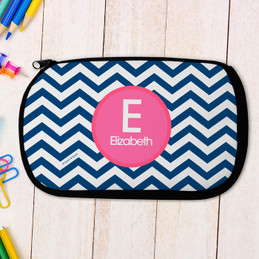 Blue And Pink Chevron Pencil Case