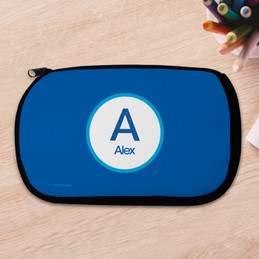 A Linen Blue Letter Pencil Case