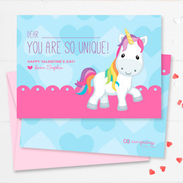 Pink Sweet Unicorn Kids Valentines Cards