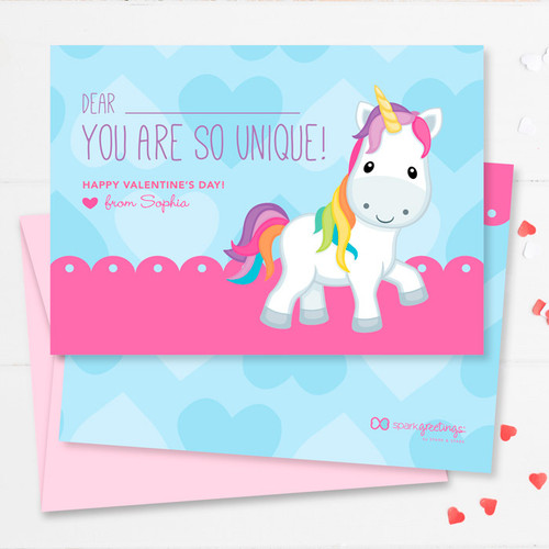 Pink Sweet Unicorn Kids Valentines Cards By Spark Spark