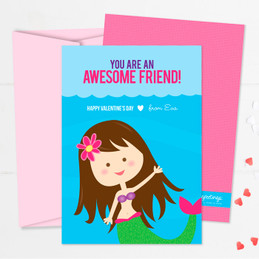 Friendly Mermaid Kids Valentines Cards