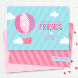 Balloon In The Sky Kids Valentines Cards
