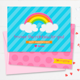 Colorful Rainbow Kids Valentines Cards