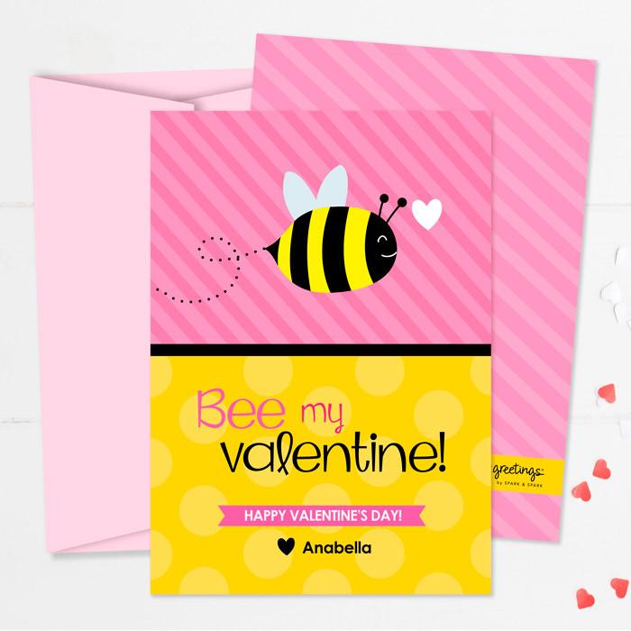 cute valentine classroom exchange cards  bee my valentine