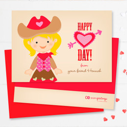 Western Cowgirl Kids Valentines Cards