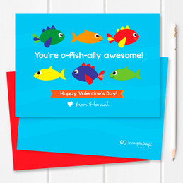 Super Cute Kids Valentines Exchange Cards | Sweet Fish
