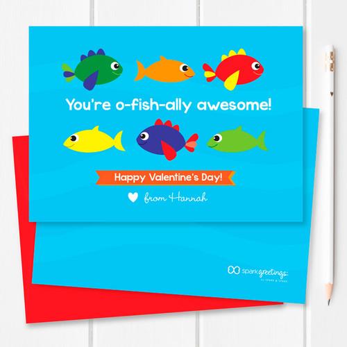 Super Cute Kids Valentines Exchange Cards | Sweet Fish
