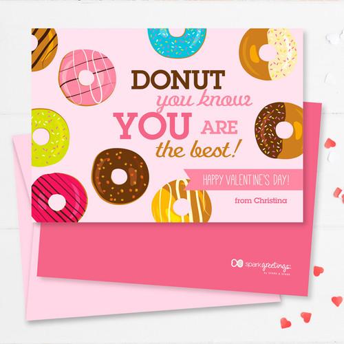 cute valentine's day card exchange at school  donut love