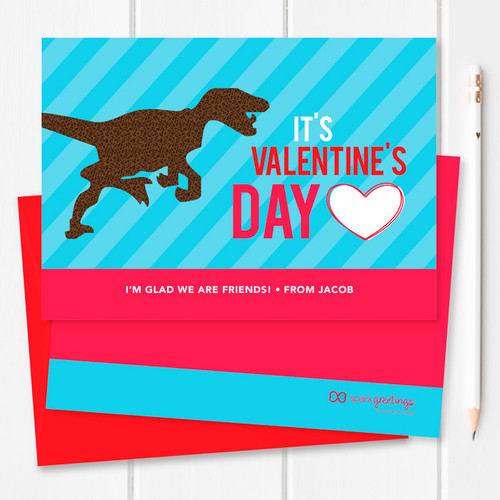Colorful Dinosaur Valentine Cards   Dino Love