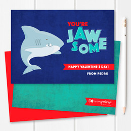 Shark Love Kids Valentines Cards