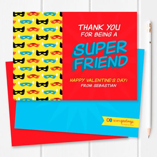 Super Hero Masks Kids Valentines Cards