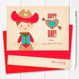 Western Cowboy Kids Valentines Cards