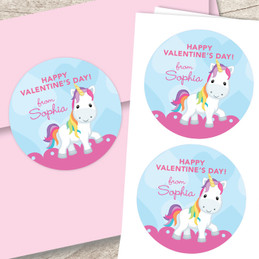 Pink Sweet Unicorn Valentine Address Labels