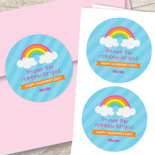 colorful rainbow valentine labels by spark spark